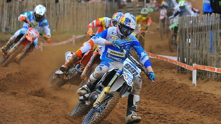 Action from the British Motocross Championship at Cadders Hill, Lyng, in 2014. MX1 Race 2. Photo: St