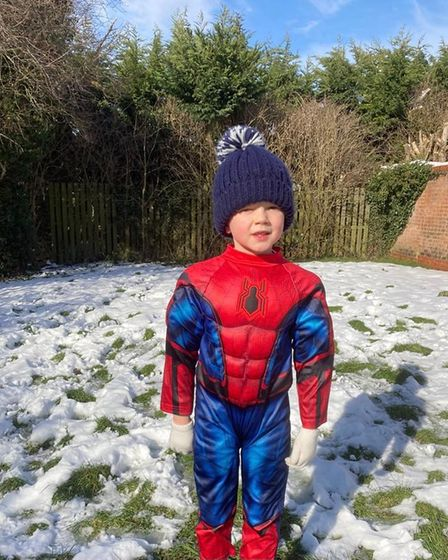 Harrison Deacon dressed as Spider-Man for one of his runs