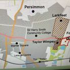 One of the slides presented to Whittlesey town council tonight showing the site of proposed new housing and a new supermarket