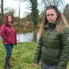 Vicki Excell and Suzie Westage, from Hevingham, whose gardens are being filled with sewage and waste