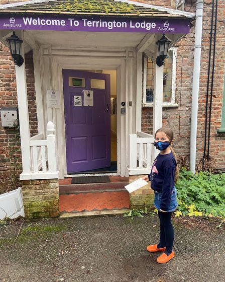 Willow, a King's Ely pupil, has written cheese jokes to care home residents at Terrington Lodge to make them smile.