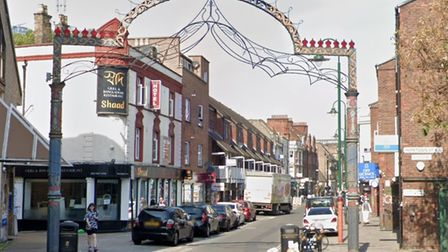Looking north along Brick Lane in the East End from the corner of Hopetown Street.