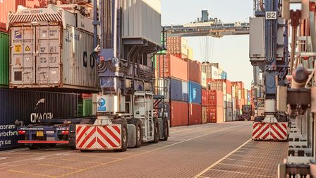Machinery on the quaysides at the Port of Felixstowe, Britain's premier container port, cold be powered by hydrogen