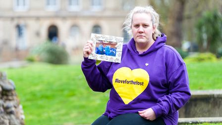 Susie Royal with a picture of her and her mum Susan York, who died from Covid last April. Picture: I