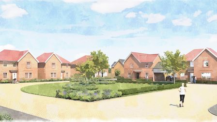 An artist's impression of the upcoming development in Woodside Way, Great Dunmow