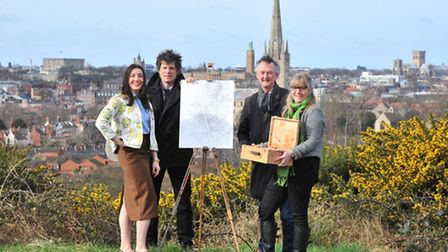 Paint Out Norwich organisers Stephanie Sinclair, James Colman, Will Buckley and Helen Vinsen launch