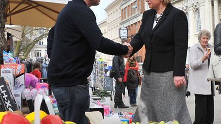 Green Party leader Natalie Bennett in Norwich where she supported candidate for Norwich South, Lesle