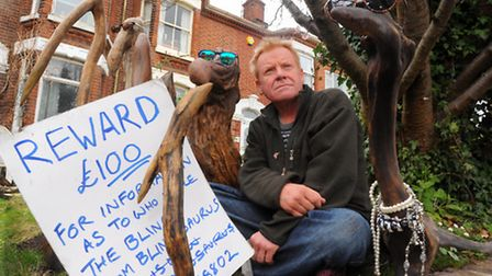 Norwich artist Clive Byers's front garden display at his Unthank Road house that has fallen victim t