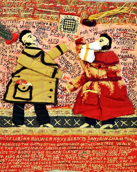 Detail of Lorina Bulwer's extraordinary embroidered letter from the 'Frayed: Textiles on the Edge' e