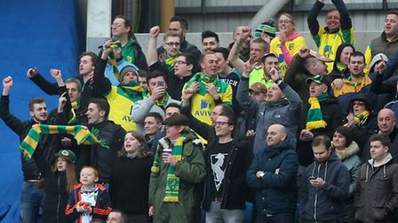Norwich City fans celebrate their side's winning goal at Brighton. Picture: Paul Chesterton/Focus Im
