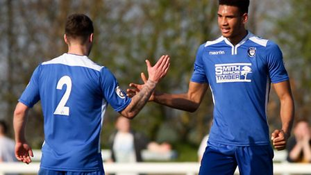 Omar Sowunmi (right) of Lowestoft Town celebrates victory with his team mate Jack Ainsley (left) aft