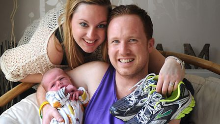 Danny Sweatman with his wife Susanna and their baby Maxwell. PHOTO: ANTONY KELLY