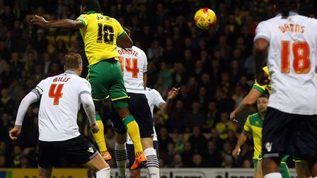Cameron Jerome heads Norwich City into a 2-0 lead in Bolton's Championship trip to Carrow Road earli