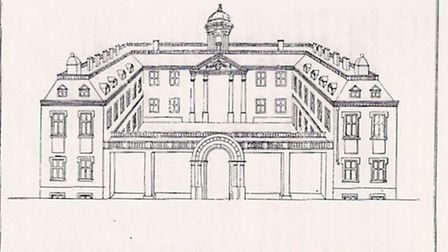 The south side of the Duke's Palace, Norwich, Kirkpatrick's 1710 drawing. Picture: Norfolk County Co