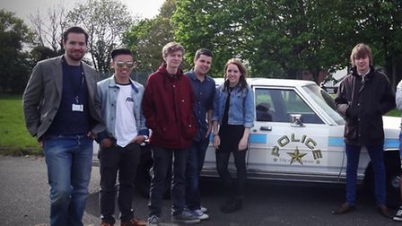 Media students from Paston Sixth Form College, North Walsham, on a film set at Scottow Enterprise Pa