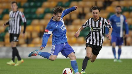 Action from Wroxham's win over Dereham in the Norfolk Senior Cup final at Carrow Road. Jamie Forshaw