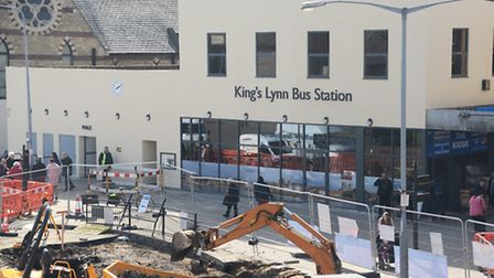 Ongoing re-development work at King's Lynn Bus Station. Picture: Ian Burt