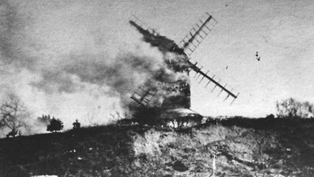 Sprowston Postmill which burnt down on March 24, 1933.