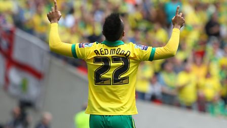 Nathan Redmond of Norwich celebrates scoring his sides 2nd goal during the Sky Bet Championship Play