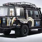Land Rover's Rugby World Cup 2015 Defender with bespoke display cabinet for the Webb Ellis Cup.