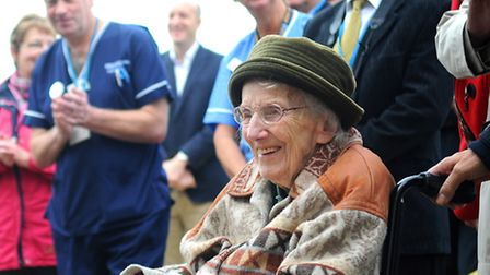 Molly Stibbons at the Cromer hospital official opening. She also sang, as a schoolgirl, at the openi