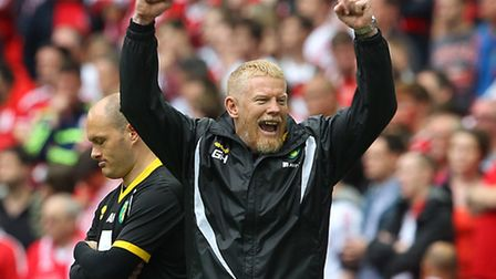 Norwich City's first-team coach Gary Holt celebrates at Wembley. Picture: Paul Chesterton/Focus Imag