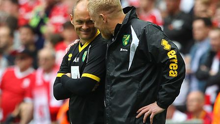 Norwich manager Alex Neil and first-team coach Gary Holt during the Sky Bet Championship Play-off fi