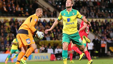 Luciano Becchio of Norwich City in action in the Capital One Cup against Crawley Town at Carrow Road