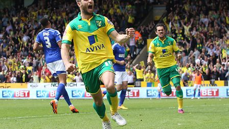 Wes Hoolahan celebrates scoring the goal against Ipswich Town that set Norwich City on their way to