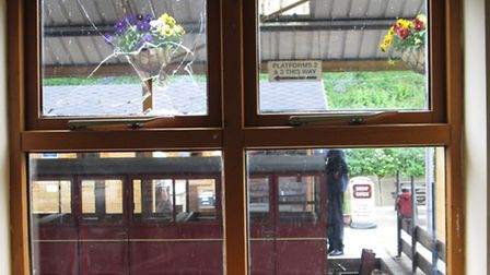 The broken shop window at the Aylsham station of the Bure Valley Railway. Picture: SUBMITTED