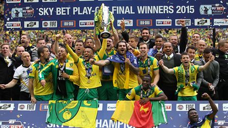 Norwich City players savour a Championship play-off final win against Middlesbrough at Wembley. Pict