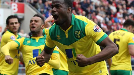 Sebastien Bassong of Norwich City celebrates his side's goal during the 1-1 draw at Rotherham in Apr