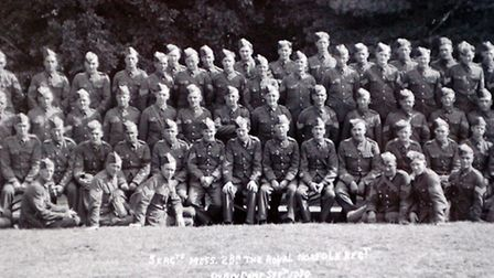 Photograph of the 2nd Battalion of the Royal Norfolk Regiment in 1939.See also: (L TO R) William O'