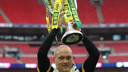 Alex Neil with the play-off trophy. Picture: Paul Chesterton/Focus Images