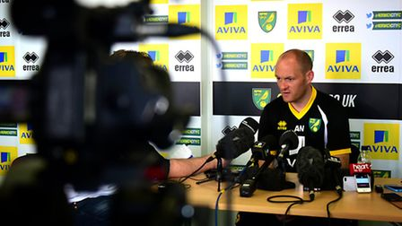 Norwich City manager Alex Neil was in the spotlight at Colney on Friday afternoon. Picture: Antony K