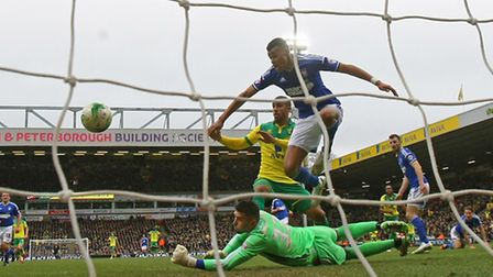 Lewis Grabban is fit and available for Norwich City's Championship play-off final at Wembley. Pictur