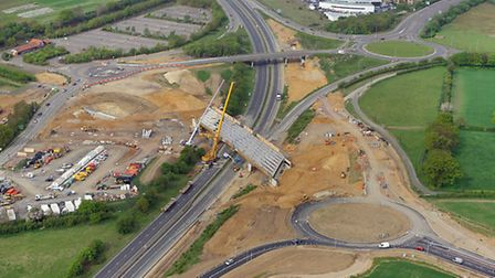 Bridge building over the weekend at the Postwick Interchange on the A47. Photo : Mike Page