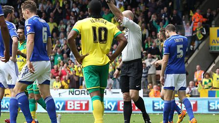 Nathan Redmond of Norwich has a shot on goal that is handled on the line by Christophe Berra of Ipsw