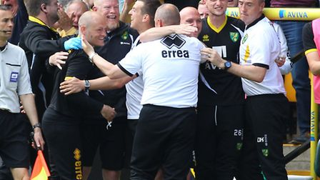 Norwich manager Alex Neil celebrates Cameron Jerome's goal which sealed a Wembley date against Middl