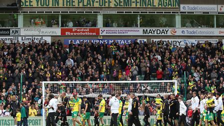 The Norwich City players, management and fans all enjoy the lap pf appreciation at the end of the vi