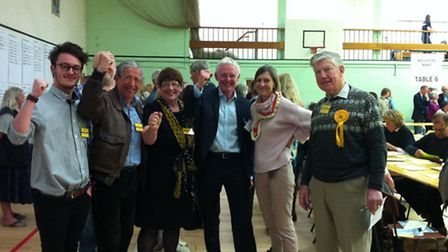 Norman Lamb celebrating his election win with wife Mary and party supporters. Picture; SOPHIE WYLLIE