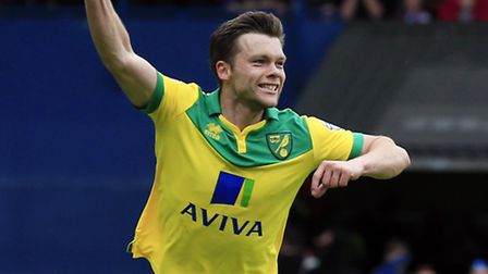 Norwich City's Jonathan Howson celebrates scoring the opening goal at Portman Road.