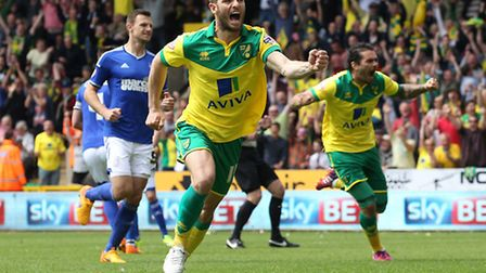 Wes Hoolahan celebrates giving Norwich City the lead. Picture: Paul Chesterton/Focus Images