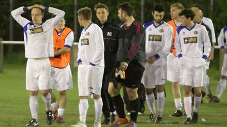 Great Yarmouth Town (in white) lose 1-0 to AFC Sudbury Res. Squad, in the Thurlow Nunn Div one cup m