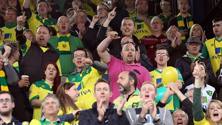 Norwich fans in good spirits before the Sky Bet Championship play off semi final first leg. Picture