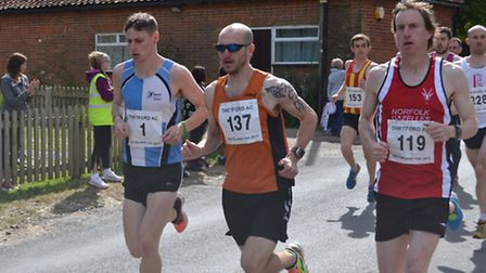 The three leading male racers at the start of the Breckland 10K, from left, former Thetford athlete