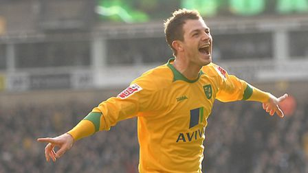 Jamie Cureton celebrates finding the net for the Canaries against Burnley. Picture: ANTONY KELLY