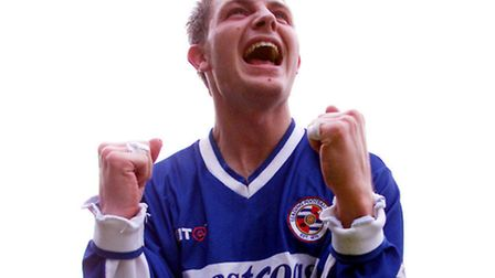 Jamie Cureton celebrates his special goal for Reading. Picture: NICK POTTS