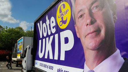 UKIP's billboard truck, which has been temporarily taken off the road because of high winds. The par