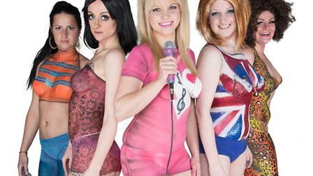 The 'Spice Girls' as body-painted by Catriona Finlayson-Wilkins and Jennie Roberts to promote this